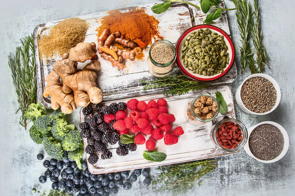 supplements and superfood on the table